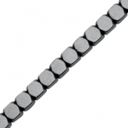 Hematite kralen cube 4mm Anthracite grey