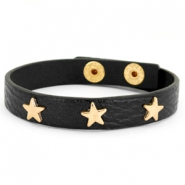 Trendy armbanden met studs gold star Black