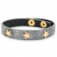 Trendy armbanden reptile met studs gold star Anthracite grey