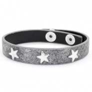 Trendy armbanden reptile met studs silver star Anthracite grey