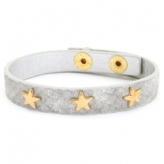 Trendy armbanden reptile met studs gold star Light grey