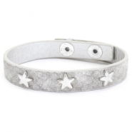 Trendy armbanden reptile met studs silver star Light grey