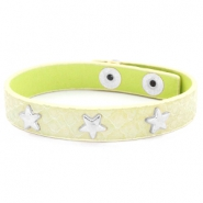 Trendy armbanden reptile met studs silver star Pastel yellow green