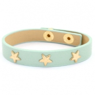 Trendy armbanden met studs gold star Green-gray mist