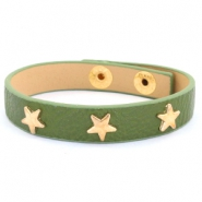 Trendy armbanden met studs gold star Army green