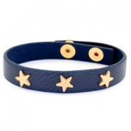 Trendy armbanden met studs gold star Dark denim blue