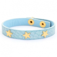 Trendy armbanden reptile met studs gold star Light blue