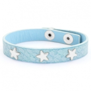 Trendy armbanden reptile met studs silver star Light blue