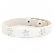 Trendy armbanden reptile met studs silver star Off white