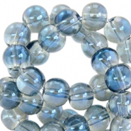 8 mm glaskralen Greige-blue half diamond coating