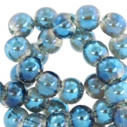 4 mm glaskralen Greige-blue diamond coating