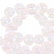 8 mm glaskralen Light pink transparant-half diamond coating