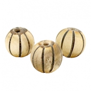 Houten kralen carved 16mm ball Natural brown