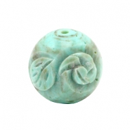 DQ acryl carved Polaris kralen 20mm rond Turquoise