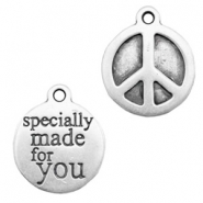 "Bedels TQ metaal peace ""specially made for you"" Antiek zilver"