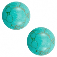 Cabochon basic stone look 12mm Light turquoise-brown