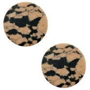 Cabochon basic plat stone look 12mm Sand brown-black