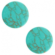 Cabochon basic plat stone look 12mm Light turquoise-brown