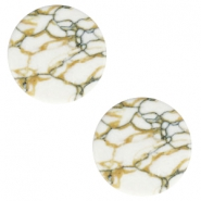 Cabochon basic plat stone look 12mm White-brown black