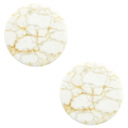 Cabochon basic plat stone look 20mm White-beige brown