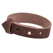 Cuoio armbanden nubuck leer 15 mm voor 20 mm cabochon Chocolate brown