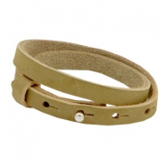 Cuoio armbanden nubuck leer 8 mm dubbel voor 12 mm cabochon Light olive green