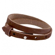 Cuoio armbanden nubuck leer 8 mm dubbel voor 12 mm cabochon Chocolate brown