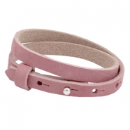 Cuoio armbanden nubuck leer 8 mm dubbel voor 12 mm cabochon Cashmere rose