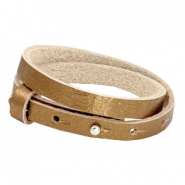 Cuoio armbanden leer 8 mm dubbel voor 12 mm cabochon Metallic antique gold