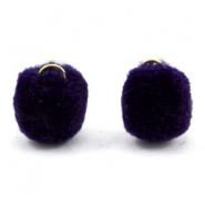 Pompom bedel met oog goud 15mm Dark purple