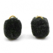 Pompom bedel met oog goud 15mm Anthracite black