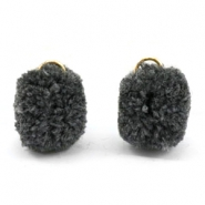Pompom bedel met oog goud 15mm Anthracite grey
