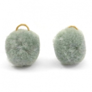Pompom bedel met oog goud 15mm Chinois green grey