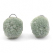 Pompom bedel met oog zilver 15mm Chinois green grey