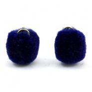 Pompom bedel met oog goud 15mm Crown blue