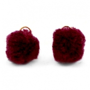 Pompom bedel met oog goud 15mm Port red