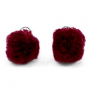 Pompom bedel met oog zilver 15mm Port red