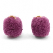 Pompom bedel met oog goud 15mm Heather purple