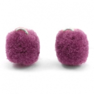 Pompom bedel met oog zilver 15mm Heather purple