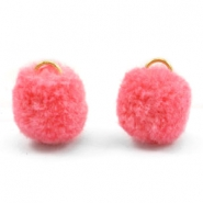 Pompom bedel met oog goud 15mm Rouge red pink