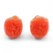 Pompom bedel met oog goud 15mm Coral orange