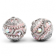 Bohemian kralen 20mm Light pink-silver