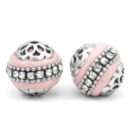 Bohemian kralen 16mm Light pink-silver