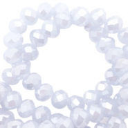 Top Facet kralen 8x6 mm disc Misty lavender blue-pearl high shine coating