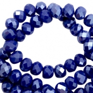 Top Facet kralen 8x6 mm disc Dazzling blue-half pearl high shine coating