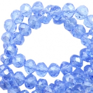 Top Facet kralen 8x6 mm disc Sapphire blue-pearl high shine coating