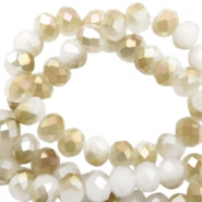 Top Facet kralen 6x4 mm disc White-half champagne pearl high shine coating