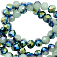 Top Facet kralen 6x4 mm disc Greenish grey-half blue gold pearl shine coating
