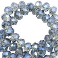 Top Facet kralen 6x4 mm disc Greige-montana blue diamond shine coating