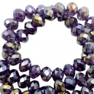 Top Facet kralen 4x3 mm disc Tawny port purple-half gold pearl high shine coating